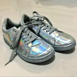 Charlotte Russe Holographic Low Top Sneakers